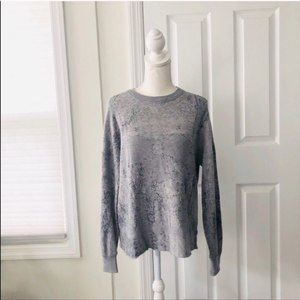 Skull Cashmere Grey Abstract Print Rare Sweater
